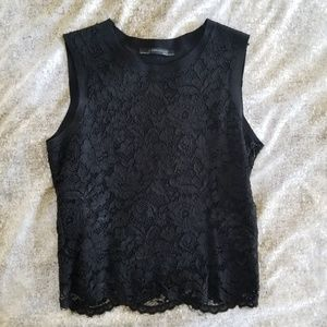 Zara M sleeveless allover lace crop knit